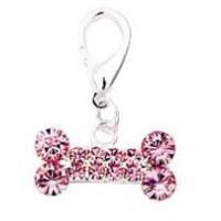 Bijoux collier pour chien os long strass rose