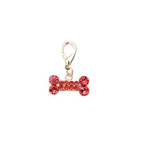 Bijoux collier pour chien os long strass rouge