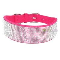 Collier pour chien rose, large strass diamond river