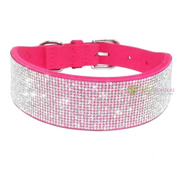 Collier pour chien fushia, large strass, Diamond River