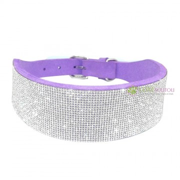 Collier pour chien parme, large strass, Diamond River