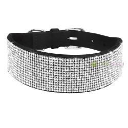 Collier pour chien noir, large strass, Diamond River
